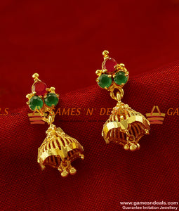 ER268 - Trendy College and Office Wear Stone Jhumki Design Gold Plated Ear Rings
