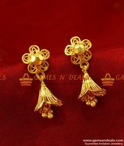 ER273 - Traditional Small Daily Wear Guarantee Jhumki Design Gold Plated Ear Rings
