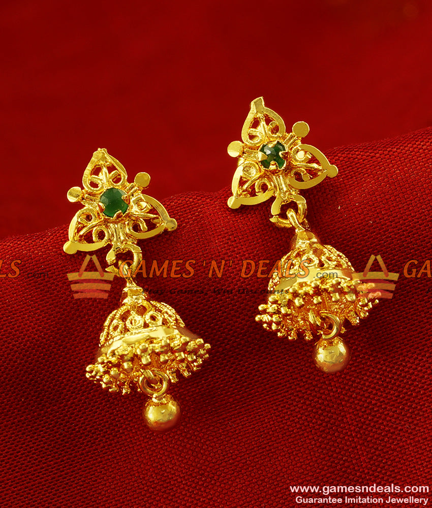 ER275 - Beautiful Medium Size Daily Wear Stone Jhumki Design Gold Plated Ear Rings