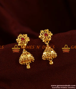ER303 - South Indian Red Stone Jhumki Trendy Small Design College Girl Daily Wear Ear Rings