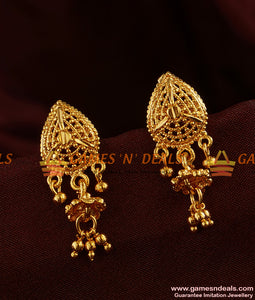 ER320 - Spade and Flower Trendy Small Jhumki Imitation Ear Rings