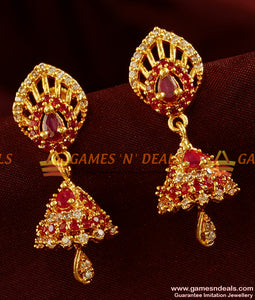 ER324 - CZ Stone Big Gold Plated Guarantee Jhumkhi Party Wear Imitation Design