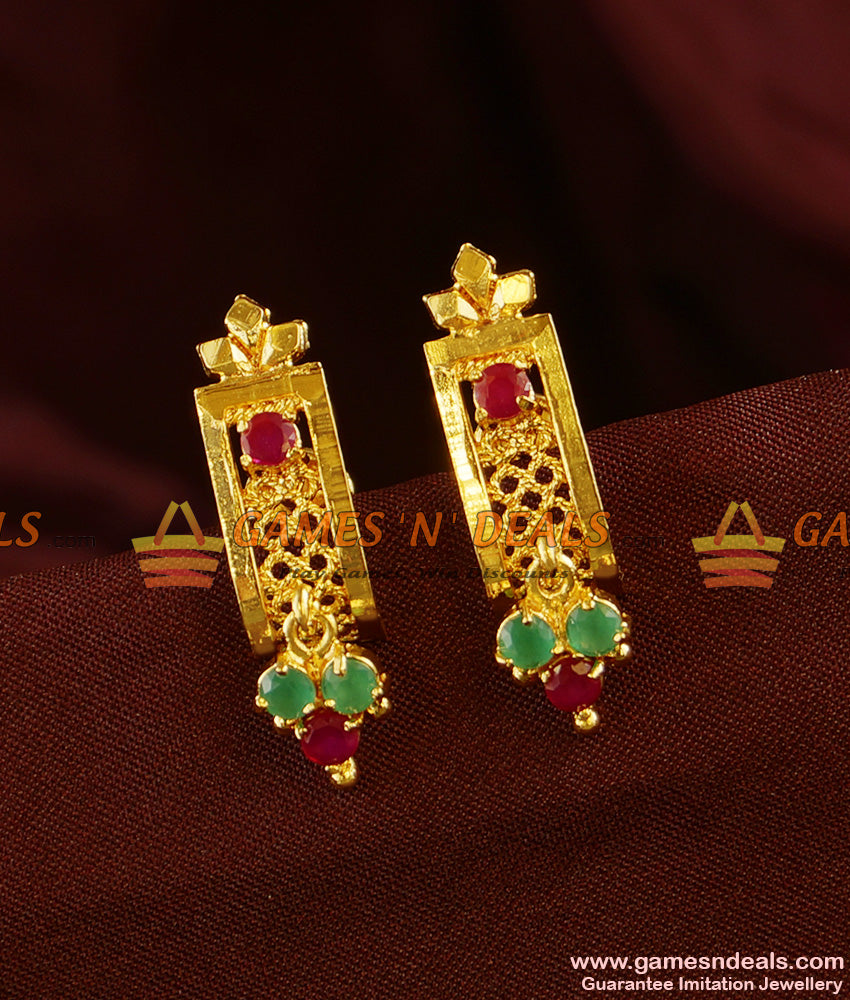 ER331 - South Indian Kerala Design Daily Wear AD Stone Ear Rings