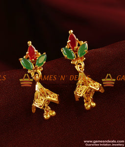 ER342 - Cubic Zircon Stone Peacock Design Jhumki Party Wear Design Ear Rings