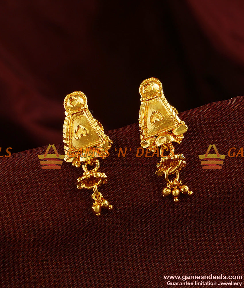 ER354 - Kerala Type Daily Wear Trendy Small Jhumki Imitation Ear Rings