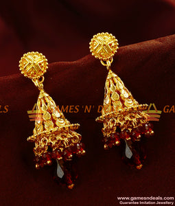 ER374 - Trendy Big Gold Plated Red Crystal Jhumkhi Guarantee Party Wear Design