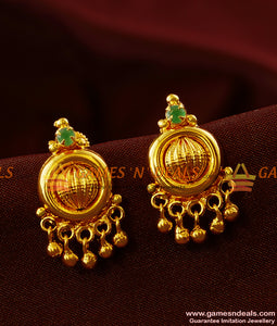 ER392 - Green AD Stone Kerala Type Jhumki Design Imitation Ear Rings