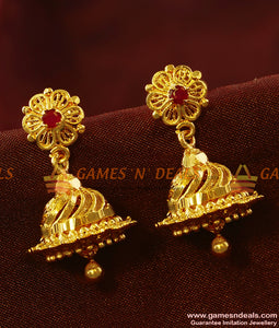 ER411 - Trendy Ad Stone Jhumki Imitation Jewelry South Indian Traditional Ear Ring