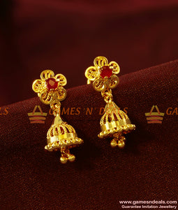 ER413 - AD Stone South Indian Daily Wear Small Jhumki Imitation Ear Rings