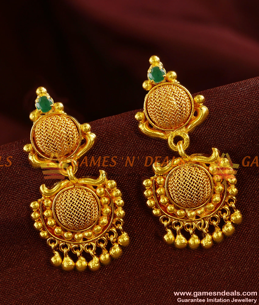 ER422 - Net Design Danglers Semi Precious Emerald Stone Ear Ring Daily Wear