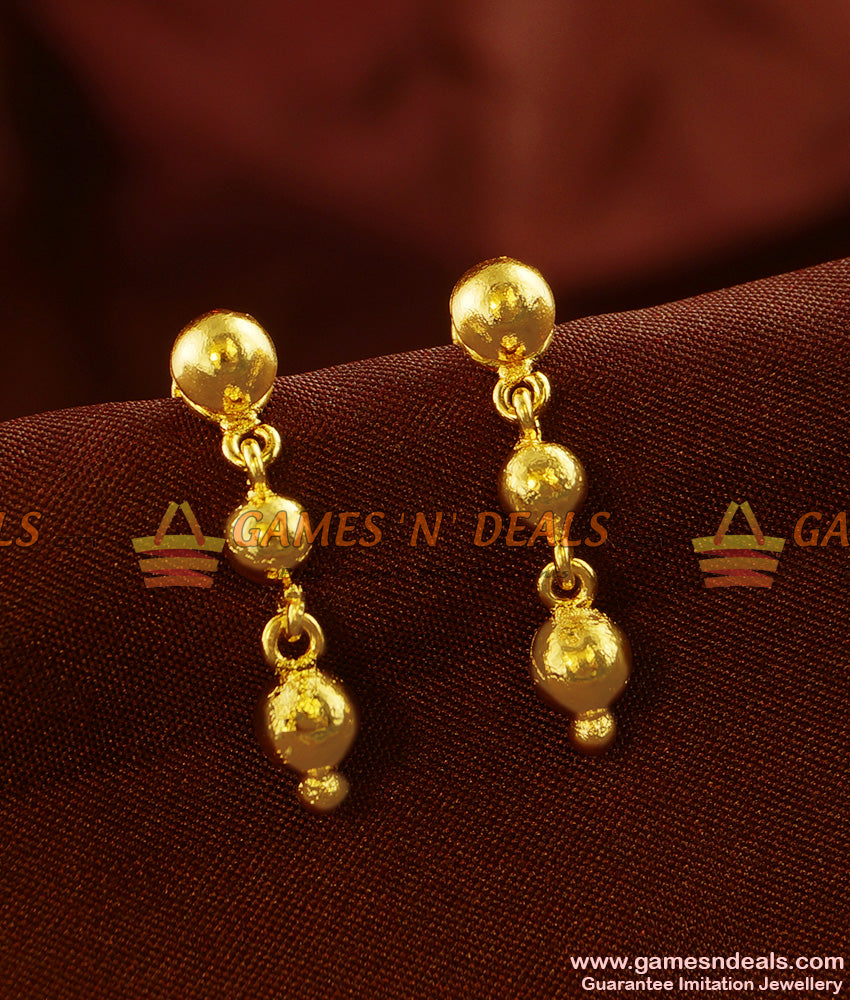 ER432 - Gold Plated Ear Rings Long Falling Rain Drops Daily Wear Design