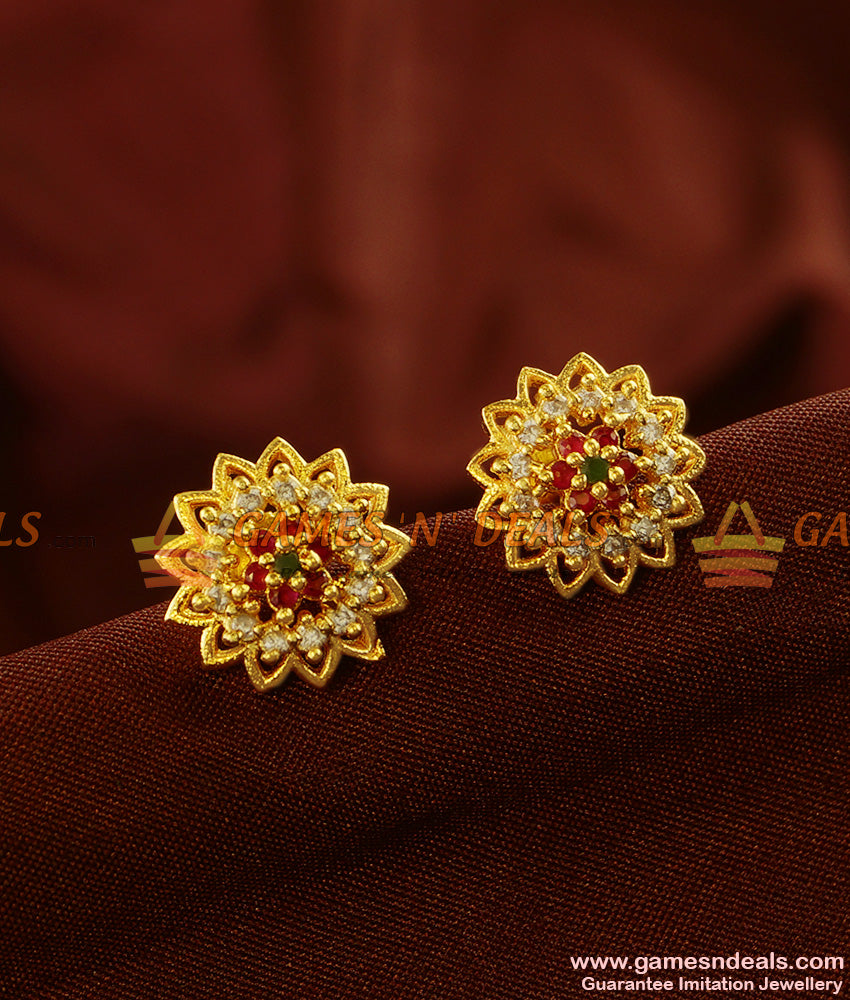 ER436 - Flower Stud Jhumkhi Zircon Stone Guarantee Ear Rings Low Price Online