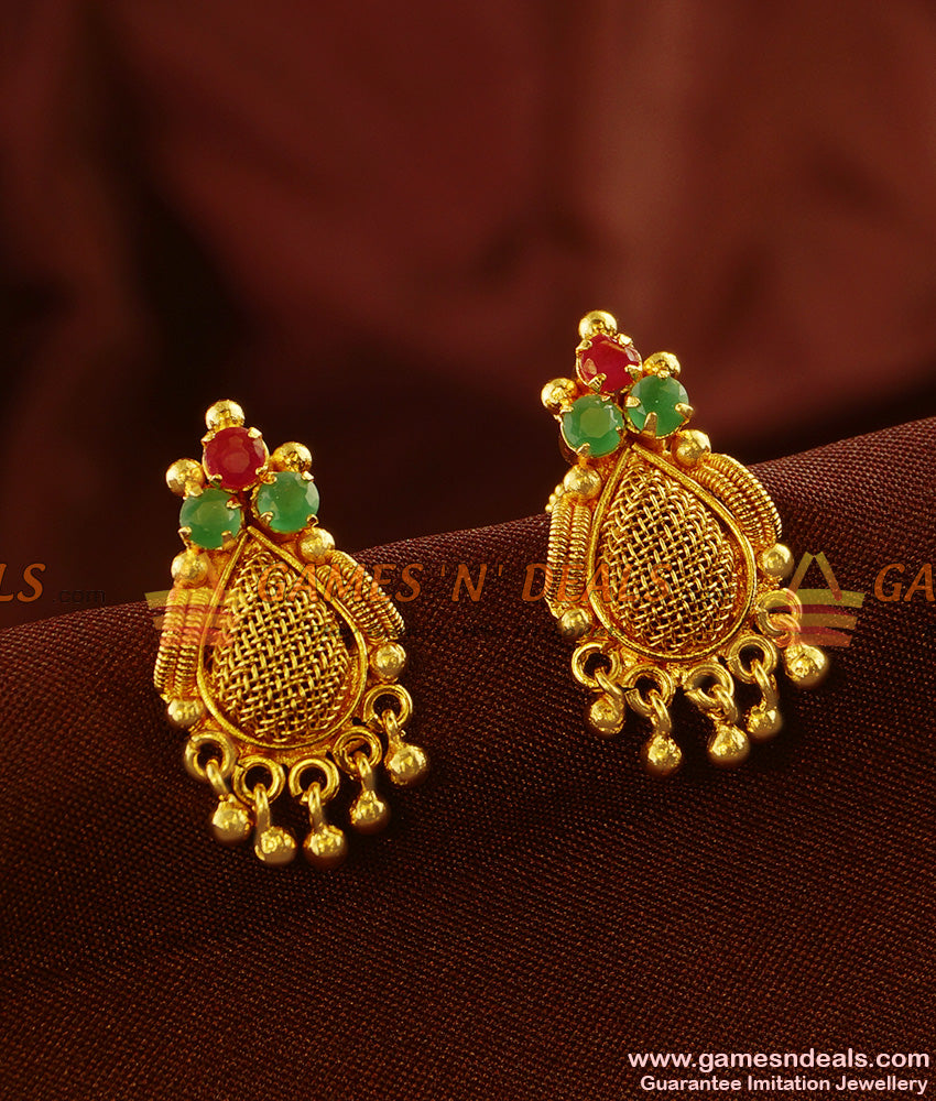 ER440 - Semi Precious AD Stone Kerala Type Beaded Design Imitation Ear Rings