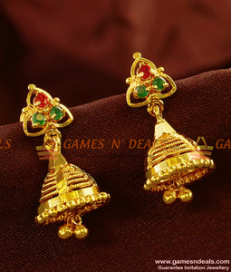 ER469 - South Indian Traditional Daily Wear Guarantee Jhumki Buy Online