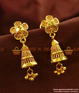 ER470 - Medium Size Plain Conical Jhumiki with Beads Traditional Ear Rings Online