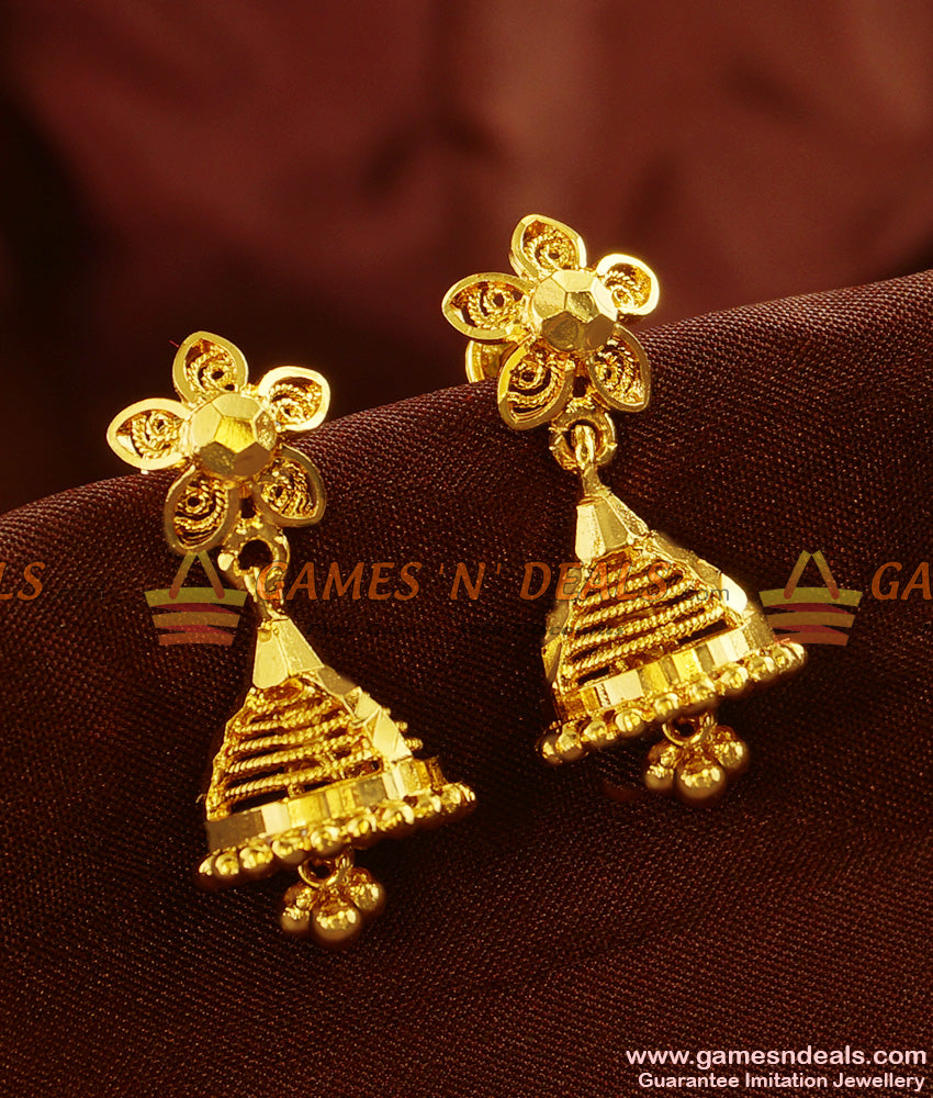 ER489 -  Real Gold Like Design Gold Plated Guarantee Daily Wear Jhumkhi