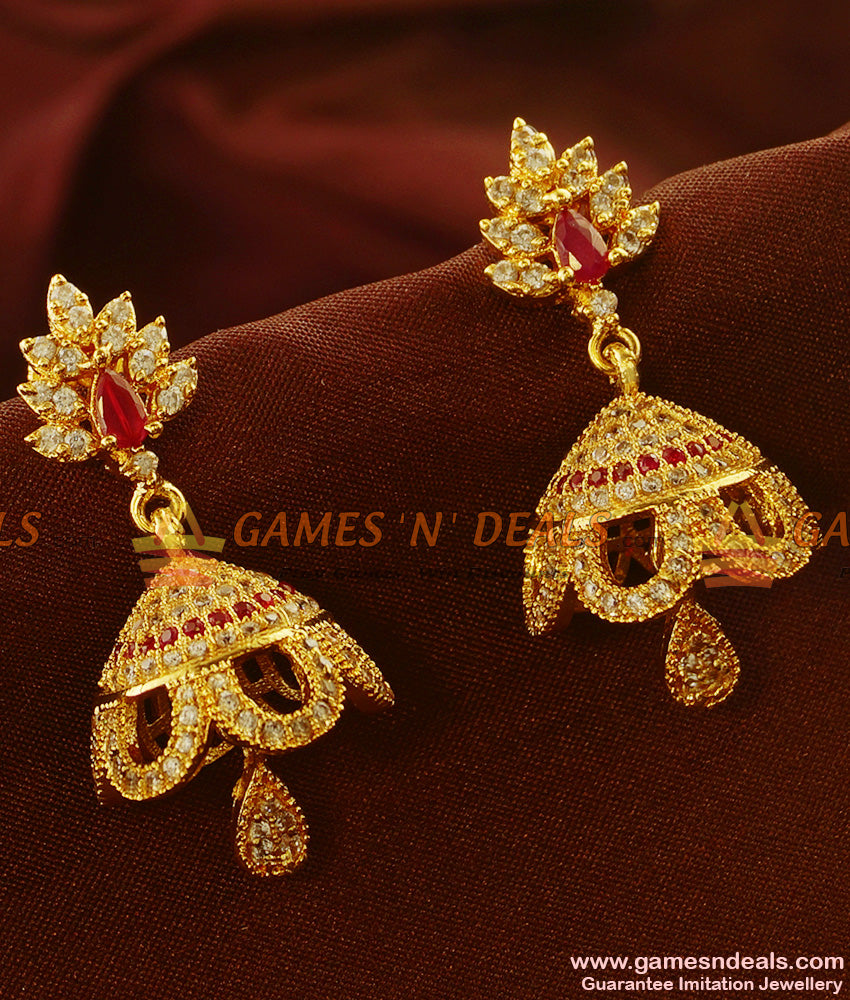 ER501 - Umbrella Type Real Gold Like Design Guarantee Party Wear Stone Jhumkhi