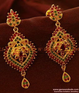 ER503 - Semi Precious Cubic Zircon Stone Danglers Kerala Type Imitation Ear Rings