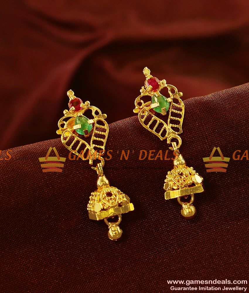 ER542 - Cubic Zircon Stone Daily College Wear Unique Design Jhumki