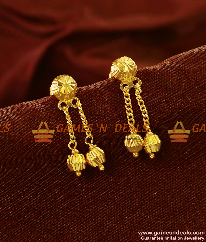ER581 - Gold Plated Ear Rings Double Falling Rain Drops Daily Wear Design