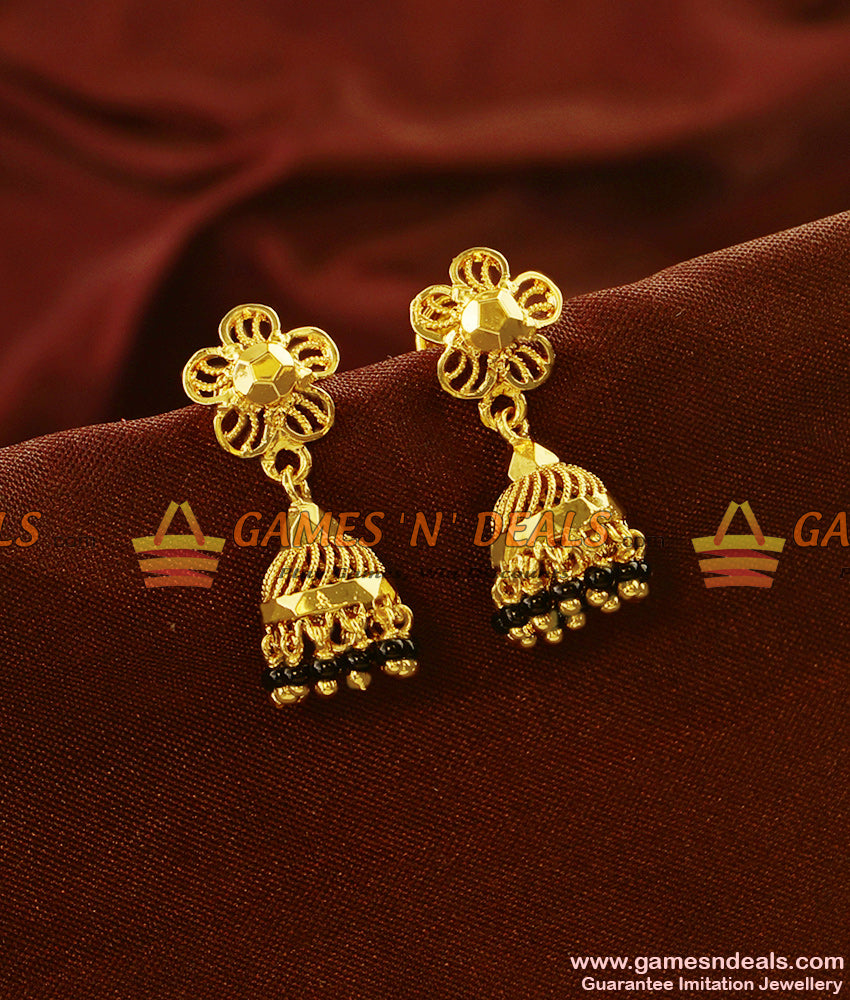 ER586 - Trendy Gold Plated Black Beads Jhumkhi Guarantee Imitation Ear Ring
