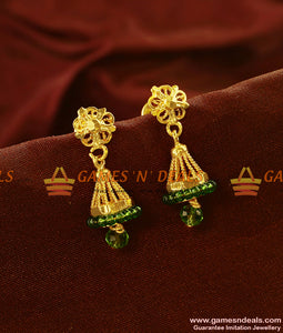 ER587 - Trendy Gold Plated Green Beads Jhumkhi Guarantee Imitation Ear Ring