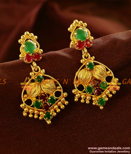 ER601 - Gold Plated Ear Rings Semi Precious AD Stone Danglers Party Wear Design