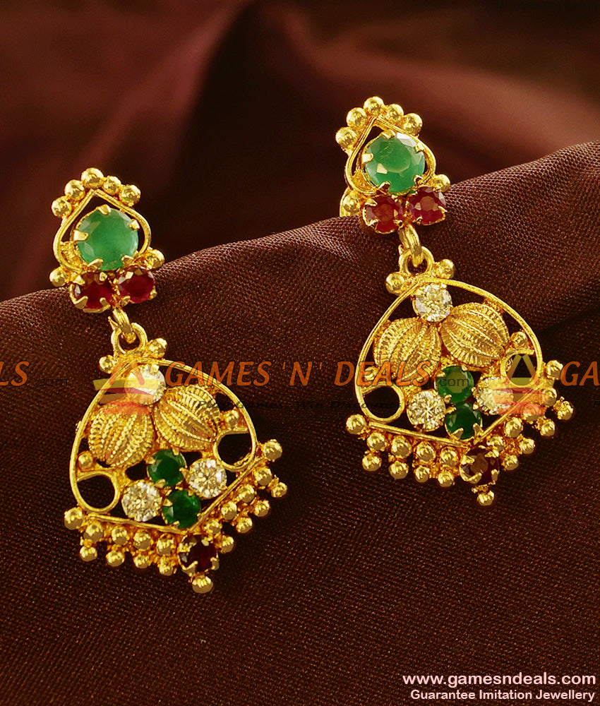 ER602 - Gold Plated Ear Rings Semi Precious AD Stone Danglers Party Wear Design