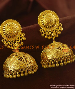 ER641 - Leaf and Flower Art Big Umbrella Jhumki Design Buy Online