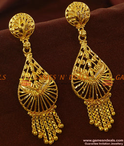 ER653 - Peacock Feathers Long Danglers Tamilnadu Pongal Special New Arrivals