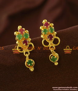 ER690 - Beautiful AD Stone Danglers Real Gold Like Imitation Earring