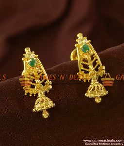 ER695 - Gold Plated Guarantee Kerala Ear Rings Daily Wear Real Gold Design