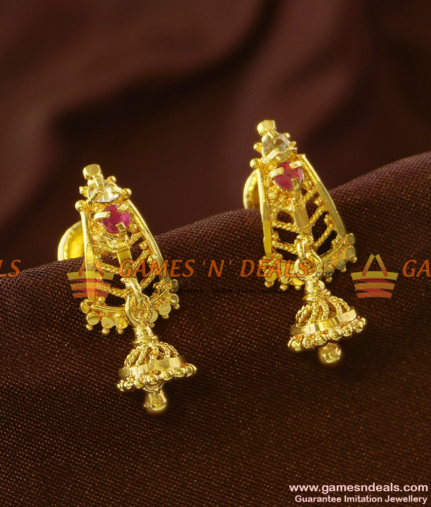 ER696 - Gold Plated Guarantee Kerala Ear Rings Daily Wear Real Gold Design