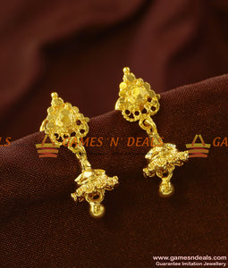ER734 - Small Gold Plated Daily Wear Guarantee Jhumki Offer Price