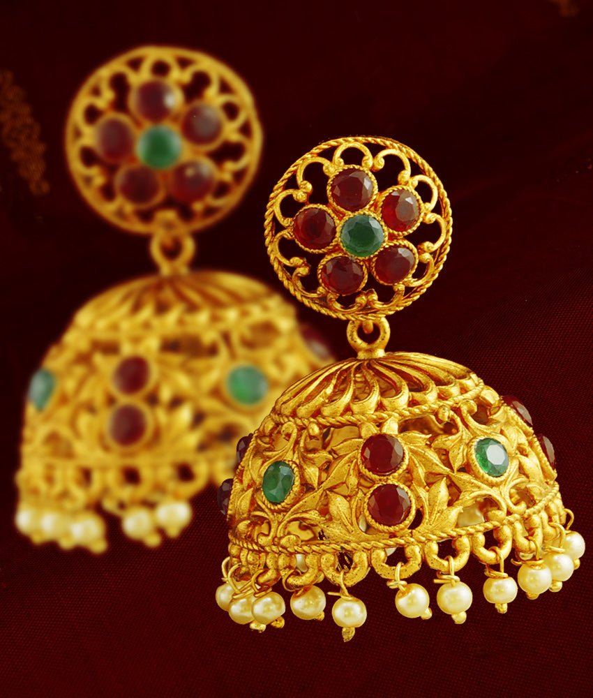Large Umbrella Temple Jhumka Floral Earrings Bridal Wear Online