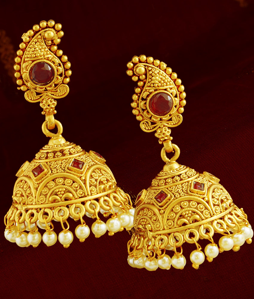 First Quality Kemp Stone Mango Jhumki for Women and Girls