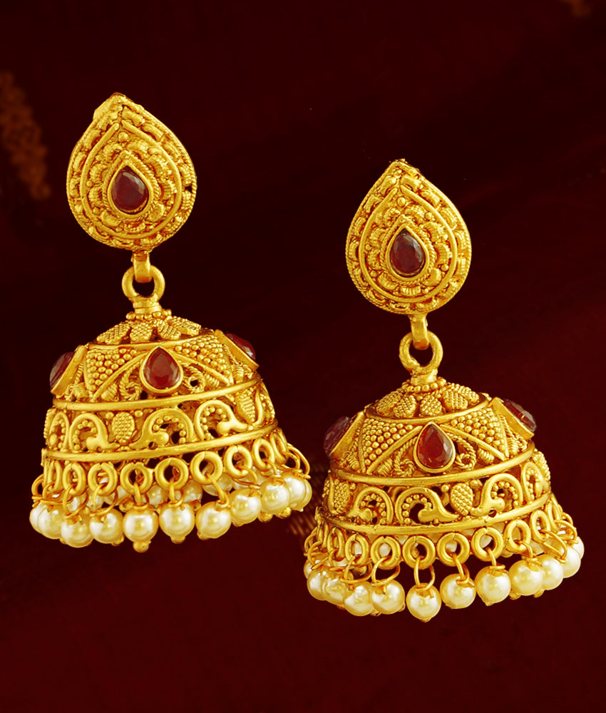 Antique Matt Gold Floral Jewelry Kemp Red Stones Jhumki for Women