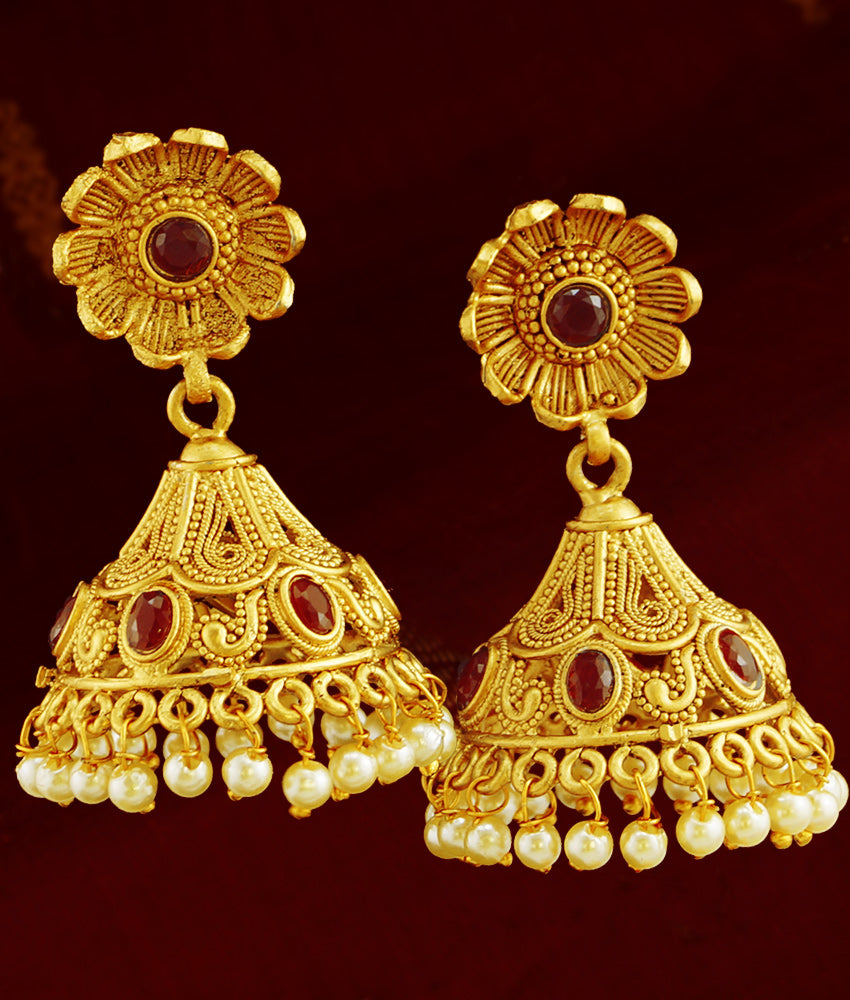 Antique Gold Jhumkas Online Floral Jewelry Kemp Red Stones Jhumki