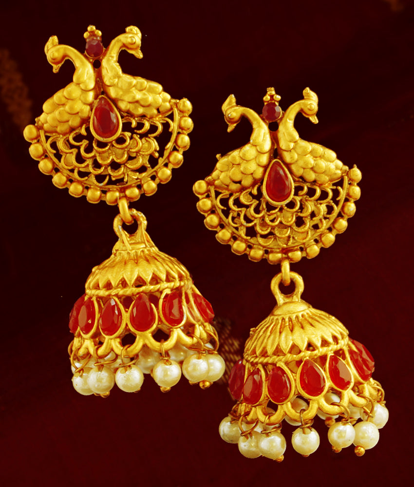 Matt Gold Peacock Jhumka/Jhumki Earrings with Kemp Stones ER788