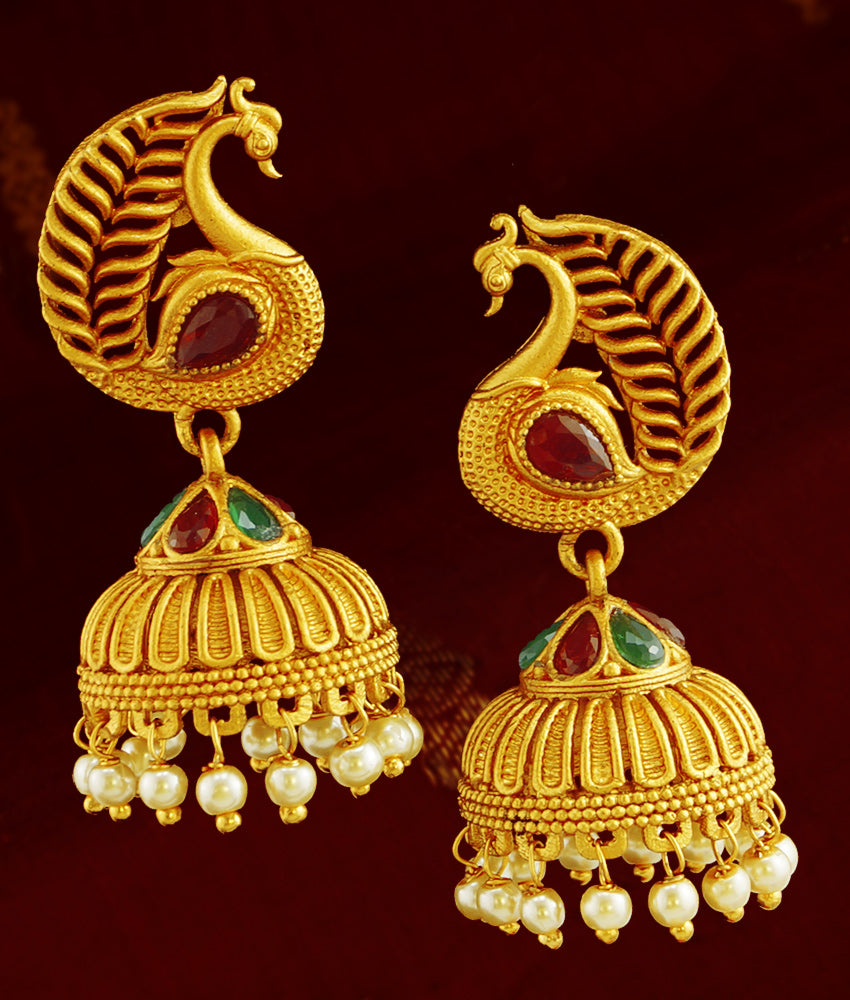 First Quality Antique Peacock Earring Temple Inspired Jhumki for women ER789