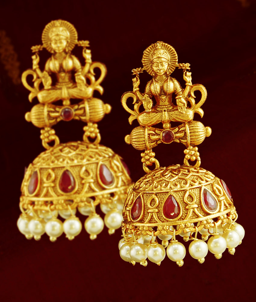 Temple Jewelry Antique Dull Gold Laxmi Jhumka Earrings Online ER790