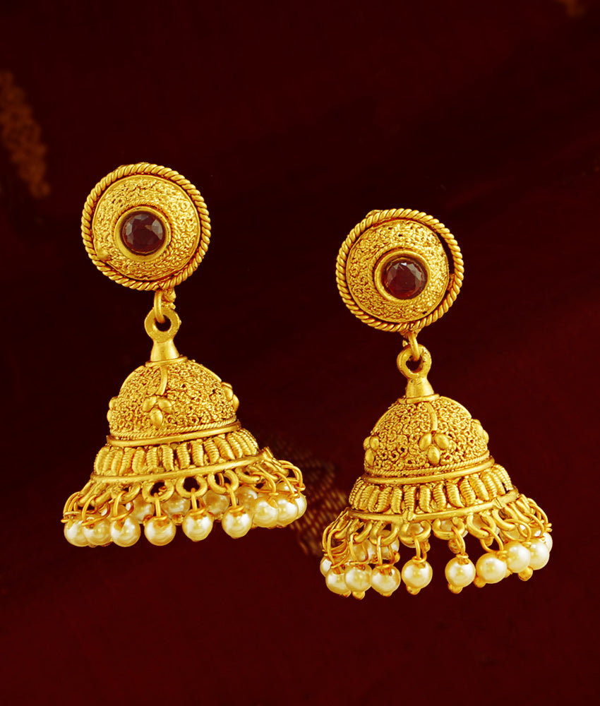 Gold Plated Antique Jhumki Jhumka Earrings Set Wedding Jewelry ER791