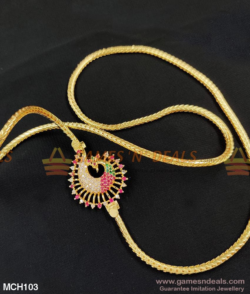 First Quality Ruby Stone Peacock Mugappu Chain Design Online Mch103 24 Inches