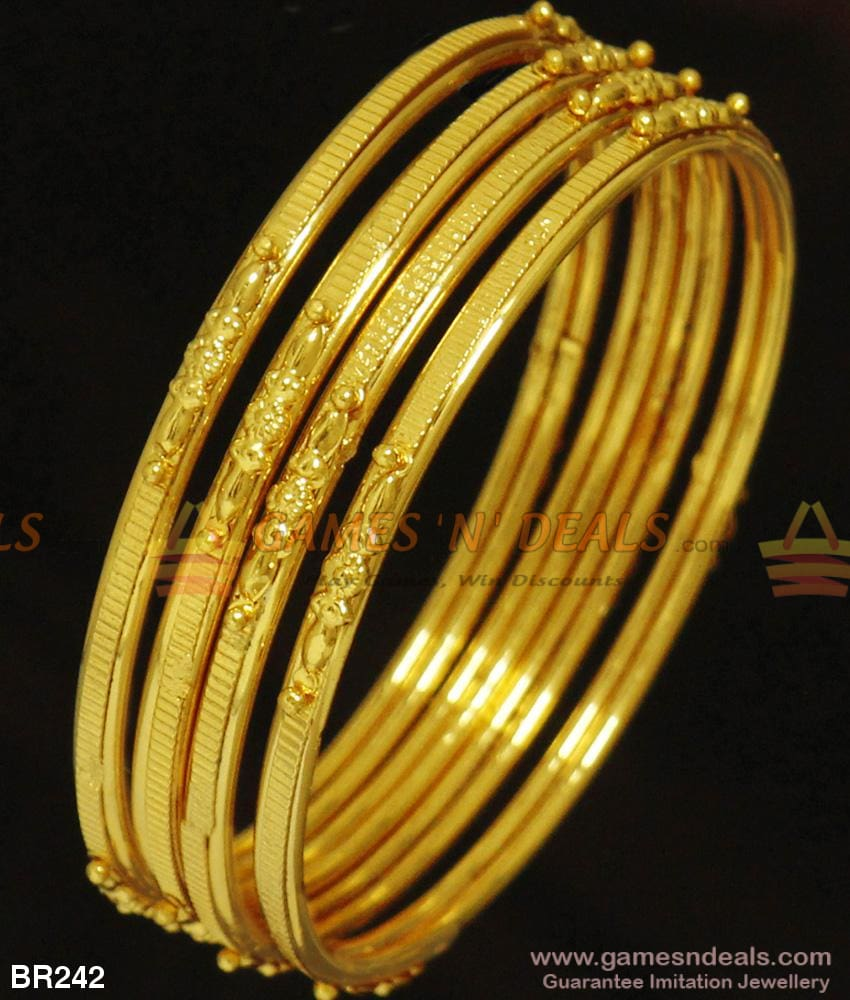 Four Pieces Thin Light Weight Plain Bangles For Daily Use Gold Design Kambi Valayal Br242 2.4 Bangle