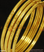 Four Pieces Thin Light Weight Plain Bangles For Daily Use Gold Design Kambi Valayal Br242 Bangle