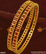 Full Red Big Cz Ruby Stone Imitation Bangles For Marriage And Engagements 2.4 Bangle