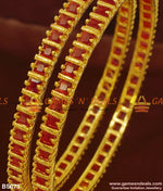 Full Red Big Cz Ruby Stone Imitation Bangles For Marriage And Engagements Bangle