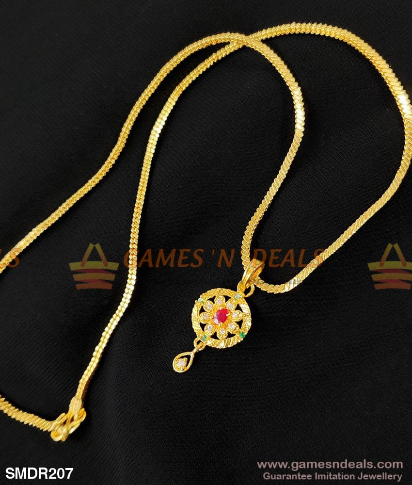 Gold Design Stone Pendant For Girls And Ladies With Short Chain 18 Inches