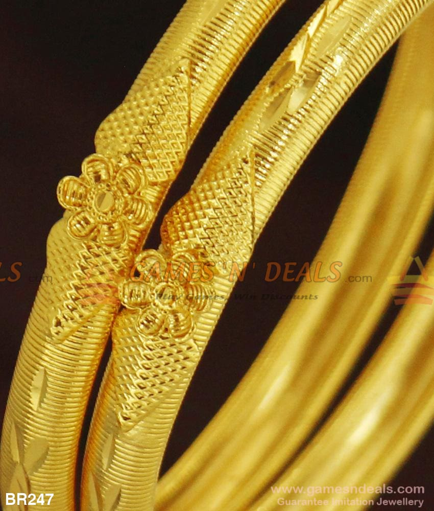 Gold Tone Flower Design Plain Bangles Without Stones For Marriage And Engagements Bangle