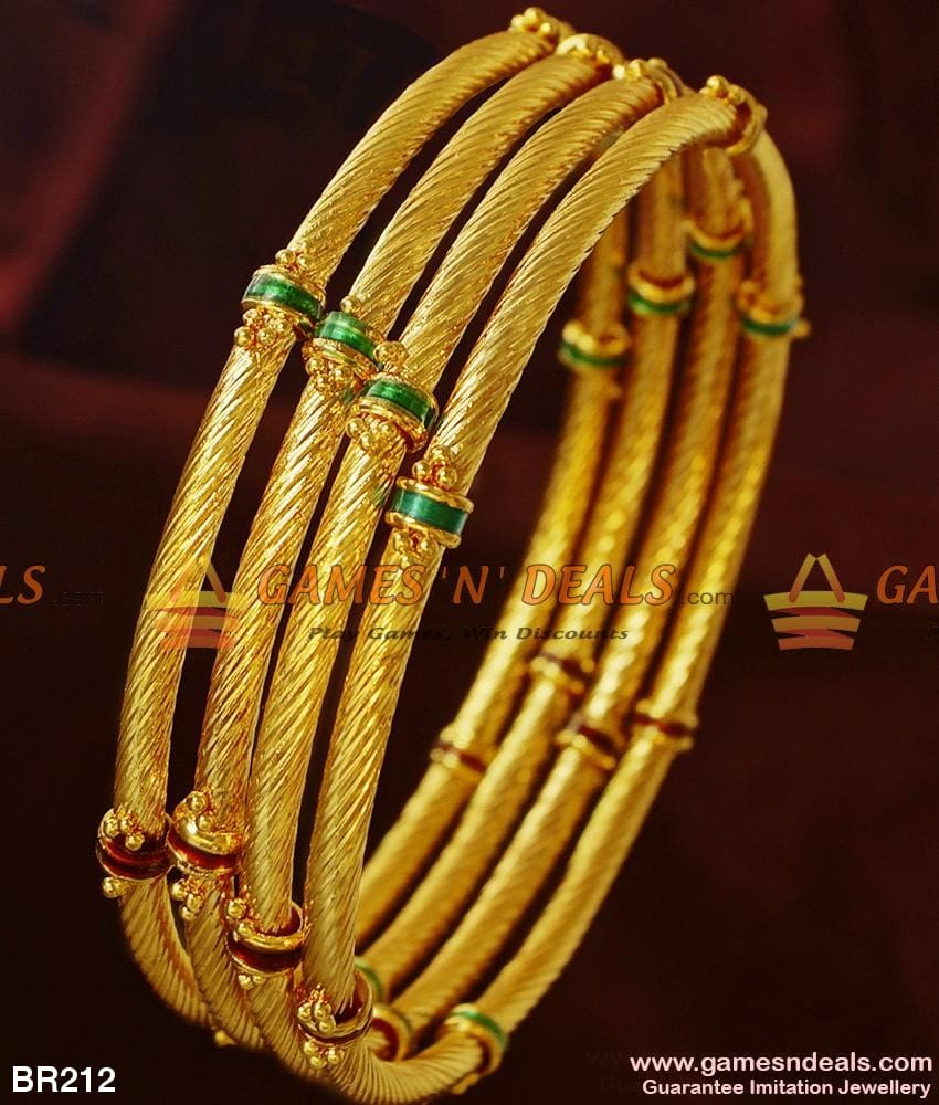 Gold Tone Party Wear Twisted Enamel Bangles Ladies Imitation Jewelry